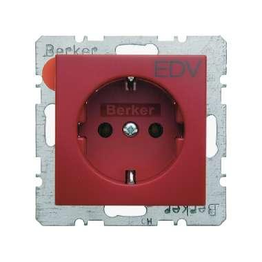 berker s 1 rot gl nzend 47438922 schuko steckdose mit aufdruck 47438922 schalter. Black Bedroom Furniture Sets. Home Design Ideas